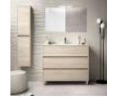 Caesaroo Mobile bagno a terra 100 cm in legno marrone Caledonia con lavabo in porcellana Con specchio e lampada LED