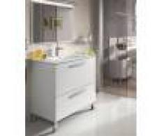 Caesaroo Mobile bagno a terra 80 cm bianco lucido con specchio Bianco lucido - Con lampada Led
