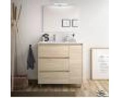Caesaroo Mobile bagno a terra 85 cm in legno marrone Caledonia con lavabo in porcellana Con specchio e lampada LED