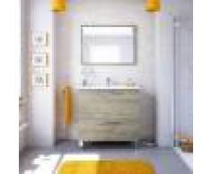 Caesaroo Mobile bagno a terra 80 cm Rovere con specchio e lavabo Rovere chiaro - 80 cm - Con lampada Led