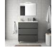 Caesaroo Mobile bagno a terra 80 cm in legno grigio opaco con lavabo in porcellana Con specchio e lampada LED