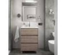 Caesaroo Mobile bagno a terra 60 cm in legno Rovere eternity con lavabo in porcellana 60 cm - Con specchio e lampada LED