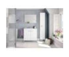 Caesaroo Mobile bagno a terra 80 cm Bianco lucido con specchio Bianco - Con lampada Led