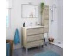 Caesaroo Mobile bagno a terra 80 cm Rovere con specchio e lavabo Colore - Con lampada Led