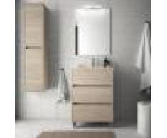 Caesaroo Mobile bagno a terra 60 cm in legno marrone Caledonia con lavabo in porcellana Con specchio e lampada LED