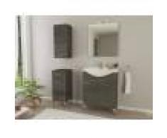 Caesaroo Mobile bagno a terra 55 cm Ambra in legno Rovere Scuro con Lavabo in ceramica Rovere scuro - Con specchio e lampada LED - 55 cm