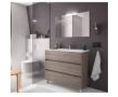 Caesaroo Mobile bagno a terra 100 cm in legno Rovere eternity con lavabo in porcellana 100 cm - Con specchio e lampada LED