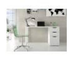 Caesaroo Scrivania da ufficio 138x60 cm Bianco opaco con due cassetti ed un'anta Bianco