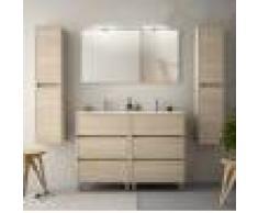 Caesaroo Mobile bagno a terra 120 cm in legno marrone Caledonia con lavabo in porcellana Con specchio e doppia lampada LED