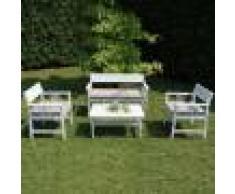 Caesaroo Set da giardino Emily con struttura in legno di acacia verniciato bianco Legno