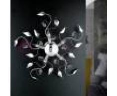Iris Luce Dora Plafoniera Moderna Metallo Cromato Con Gemme In Cristallo