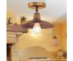 Febo Light Teo Plafoniera A Soffitto Rustica In Ottone Anticato Piatto D.26 Vintage Country
