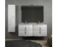 BH Mobile bagno doppio lavabo 140 cm bianco lucido sospeso con chiusure soft close specchio applique LED e colonna