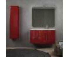 BH Mobile bagno rosso lucido sospeso onda 105 cm con colonna cassettoni soft close specchio e lampada LED (versione destra)