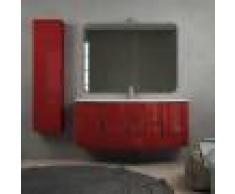 BH Mobile bagno moderno sospeso onda rosso lucido 140 cm con specchio lampada LED chiusure soft close e colonna
