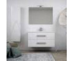 BH Mobile bagno bianco lucido sospeso moderno 100 cm con specchiera applique LED cassettoni soft close e colonna