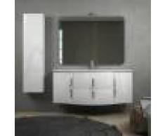 BH Mobile da bagno bianco lucido sospeso 140 cm ad onda con cassettoni soft close specchio applique LED e colonna