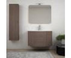 BH Mobile bagno rovere scuro sospeso 90 cm con colonna specchiera lampada LED e 2 cassettoni soft close