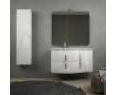 BH Mobile bagno onda bianco lucido sospeso 105 cm con cassettoni soft close specchio applique LED e colonna (versione sinistra)