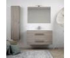 BH Composizione da bagno sospesa moderna 100 cm finitura larice con colonna specchio applique LED cassettoni soft close