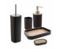 Cipì Set accessori 5 pezzi Plain nero di Dispenser Bicchiere Portasapone Vassoio e Scopino