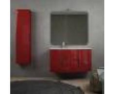 BH Composizione bagno sospesa onda rosso lucido 105 cm con colonna cassettoni soft close specchio e lampada LED (versione sinistra)