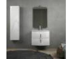 BH Composizione bagno bianco lucido sospesa 70 cm con cassettoni soft close specchio applique LED e colonna 140 cm