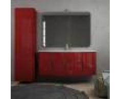 BH Mobile bagno onda rosso lucido 140 cm sospeso moderno con cassettoni soft close colonna 170 cm tre ante specchio e lampada LED