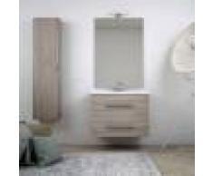 BH Mobile da bagno sospeso moderno 75 cm finitura larice con colonna specchio lampada LED cassettoni soft close