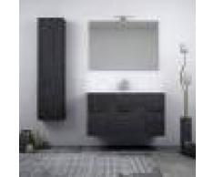 BH Mobile bagno grigio scuro venato sospeso 100 cm cassettone soft close 2 ante specchiera con applique led e colonna