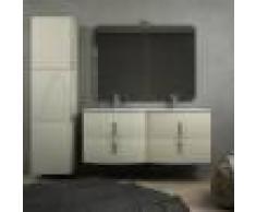 BH Mobile bagno doppio lavabo sospeso curvo 140 cm grigio natura con colonna 170 cm cassettoni soft close specchio e lampada LED