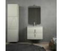 BH Mobile bagno grigio natura sospeso curvo 70 cm con chiusure soft close specchio lampada LED e colonna grande
