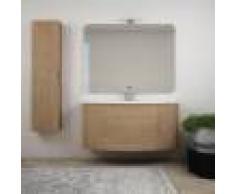 BH Mobile bagno rovere tabacco sospeso 120 cm con specchiera lampada LED colonna e cassettoni soft close