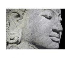 Quadro con lavorazione in finitura bianca - Profilo statua Buddha