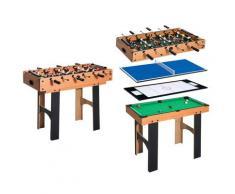 Tavolo Multi Gioco 4 In 1 Calcio Balilla Hockey Ping Pong E Biliardo In Legno Mdf 87x43x73 Cm