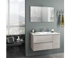 Mobile Da Bagno Sospeso Con Lavabo Specchio E Lampada A Led Tft Febe Rovere Naturale