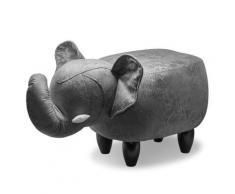 Sgabello Pouf Poggiapiedi Per Bambini 65x34x37 Cm Elefante Grigio Divina Home