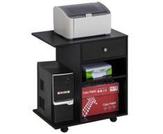 Mobile Porta Stampante 1 Cassetto 2 Ripiani 60x40x68,5 Cm In Legno Nero