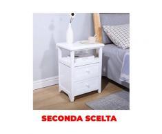 Comodino Con 2 Cassetti 40x30x54,5 Cm In Legno Massello E Mdf Fumer Oscar Bianco Seconda Scelta