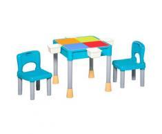 Tavolo Contenitore E 2 Sedie Per Bambini In Polipropilene Multicolore