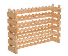 Scaffale Portabottiglie 6 Ripiani 72 Bottiglie 114x28x80 Cm In Legno Di Pino