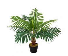 Pianta Artificiale Palma Tropicale H60 Cm Con Vaso Verde