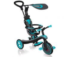 Passeggino Triciclo Per Bambini Con Maniglione E Tettuccio Globber Explorer Trike 4 In 1 Turchese