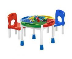 Tavolino Multiuso 3 In 1 Per Bambini Con 2 Sedie Kids Joy Block Desk