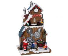 Villaggio Natalizio In Resina Babbo Natale Ed Elfi Con Luci E Suoni 18x14,5x29,5 Cm Adami