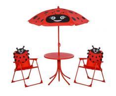 Set Tavolino E 2 Sedie Pieghevoli Da Giardino Per Bambini Con Ombrello Rosso Coccinella