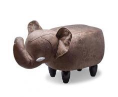 Sgabello Pouf Poggiapiedi Per Bambini 65x34x37 Cm Elefante Marrone Divina Home
