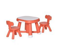 Set Tavolino Con 2 Sedie Per Bambini Con Piano Lavagnetta Bianca Rosso