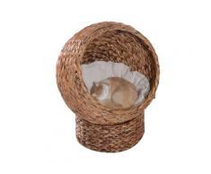 Cuccia In Vimini Per Gatti 42x33x52 Cm Con Cuscino Marrone E Bianco