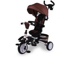 Passeggino Triciclo Pieghevole Con Sedile Girevole 360° Kid Smile Elite Marrone